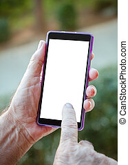 Hand senior man using Cell phon3. He is 75 years old