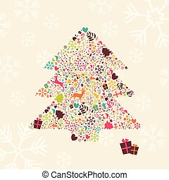 Ornamental Christmas tree with reindeers, gift boxes and snowflakes