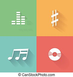 Musical note - Set of musical icons on colored backgrounds