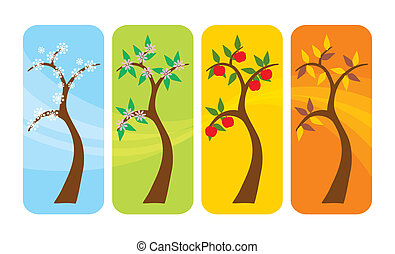 Four Seasons Tree - Vector illustration of a tree in spring,...