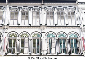 beautiful historic architecture, shophouses in chinatown, Singapore