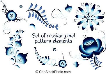 Set of russian gzhel elements