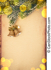 Christmas ornament on paper - Christmas tree ornament on...