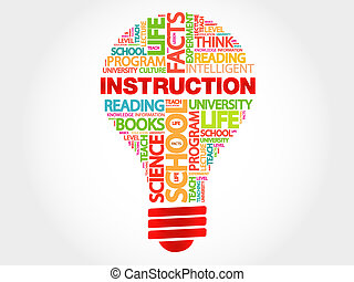 INSTRUCTION bulb word cloud, business concept