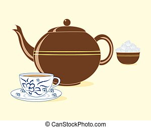 old fashioned teapot - a vector illustration in eps 10...
