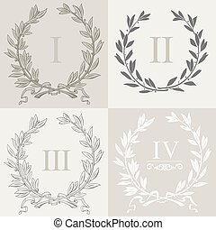 Set of laurel wreaths 1 - Set of laurel wreaths in vector...