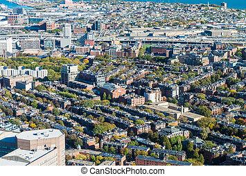 Aerial view of Boston skyline.