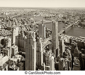 Downtown New York aerial view  with Brooklyn and Manhattan Bridges