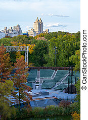 Delacorte thatre in Central Park - The great lawn seen from...