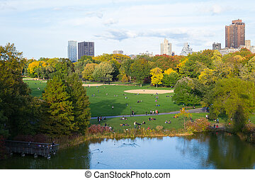 Fall colors in Central Park - The great lawn seen from the...
