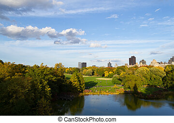 Autumn from the Belvedere castle - The great lawn seen from...