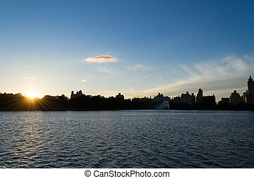 Sunset on the Upper West Side - Midtown Manhattan from the...