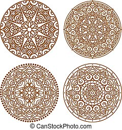Vector traditional indian mandala Orient tribal circle sign...