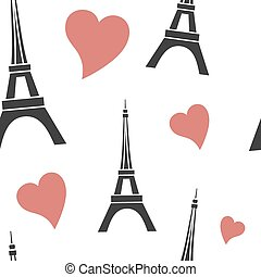 eifel - vector seamless pattern with Eiffel Tower and hearts...