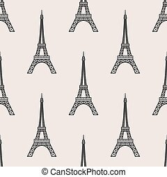 tower - vector seamless pattern with Eiffel Tower and hearts...