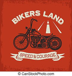 grunge vintage poster bikers land with motorbike