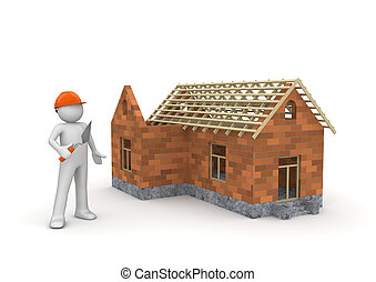 Builder Under construction wireframe house - 3d isolated on...