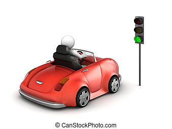 Red cabrio starting on green traffic light signal