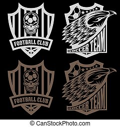 football team crest set with eagle and skull