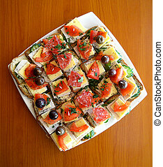 Canapes, catering food