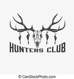 deer skull with ducks vector design template