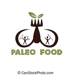 paleo food illustration with mammoth tusks and cavemans