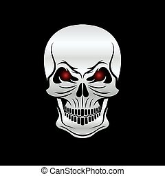 silver skull with red eyes on black background