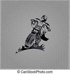 biker man vintage emblem on metal background