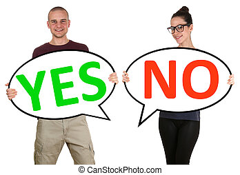 Young people man woman choosing voting yes no isolated