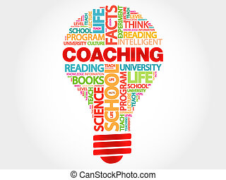 COACHING bulb word cloud, business concept