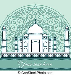 mahal - vector card with Taj Mahal