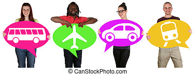 Young people holding speech bubbles with bus, train, car or plane