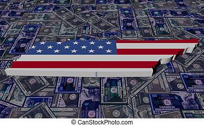 Tennessee map flag on dollars illustration