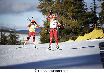 Biathlon - chinese biathlon team training for 2010 winter...