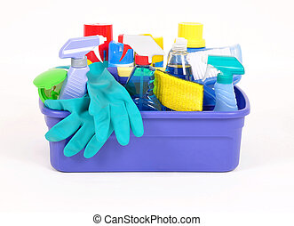Household cleaning products in a plastic container