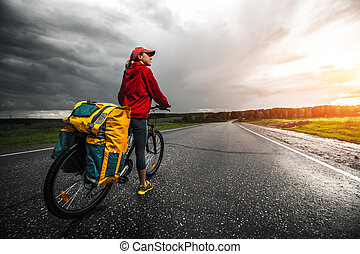Lady with bicycle - Lady traveler with loaded bicycle...