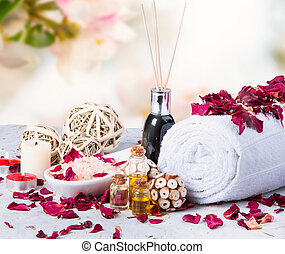 spa massage setting on wooden table