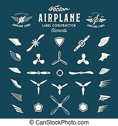 Abstract Vector Airplane Labels or Logos Construction...