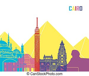 Cairo skyline pop in editable vector file