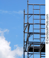 Scaffolding tower - Closeup of scaffolding tower against...
