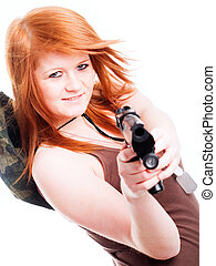 red warrior girl holding gun over white background