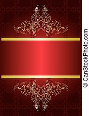 elegant red card with golden decor