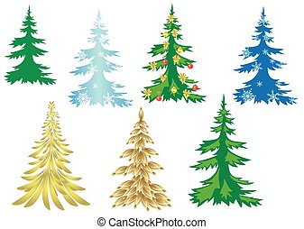 set of creative christmas trees