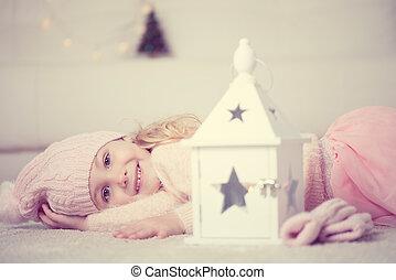 retrato, lindo, niña, navidad, tiempo