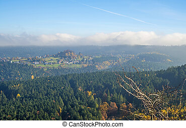 forest of the Vosges, Alsace, France - View to the autumnal...