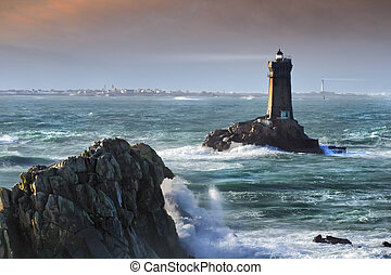 Two lighthouses - Unreal scene with two lighthouses before a...