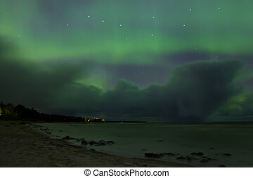 Northern lights, lake Ladoga ,Russi - Northern lights on...