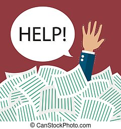 Businessman need help under a lot of documents. Overwork...