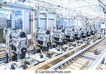car engines at conveyor line - manufacturing of car engine