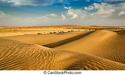 Dunes of Thar Desert, Rajasthan, India - Panorama of dunes...